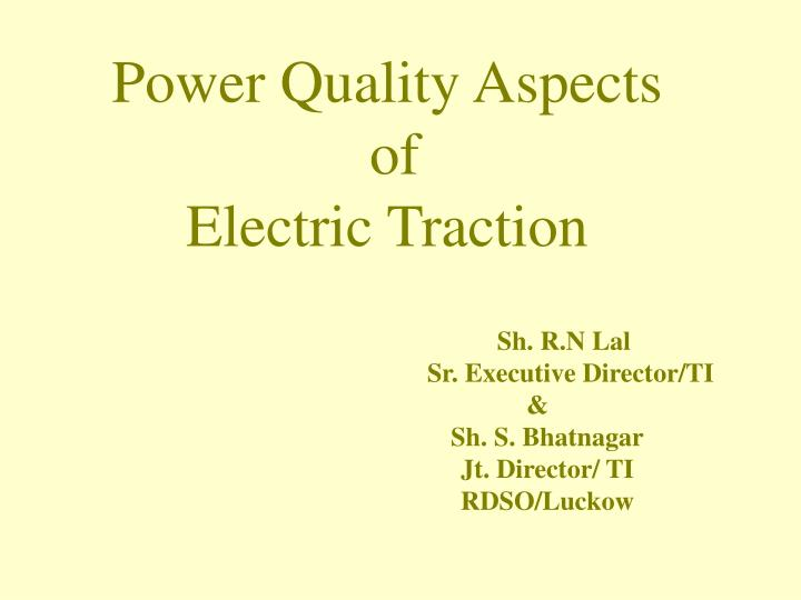 Power Quality Aspects