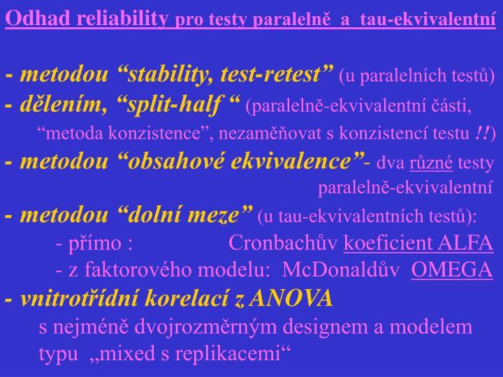Odhad reliability