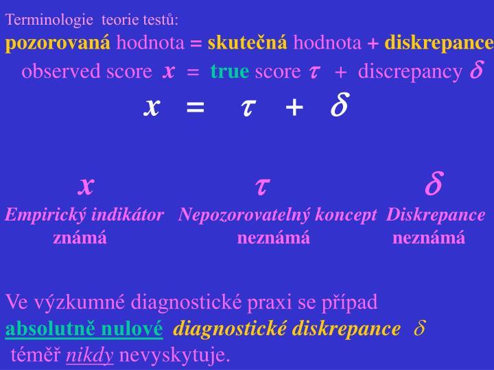 Terminologie  teorie testů: