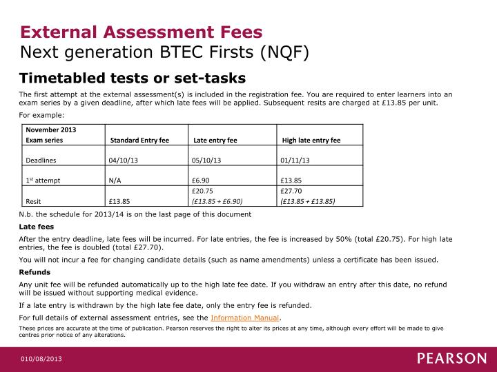 External assessment fees next generation btec firsts nqf