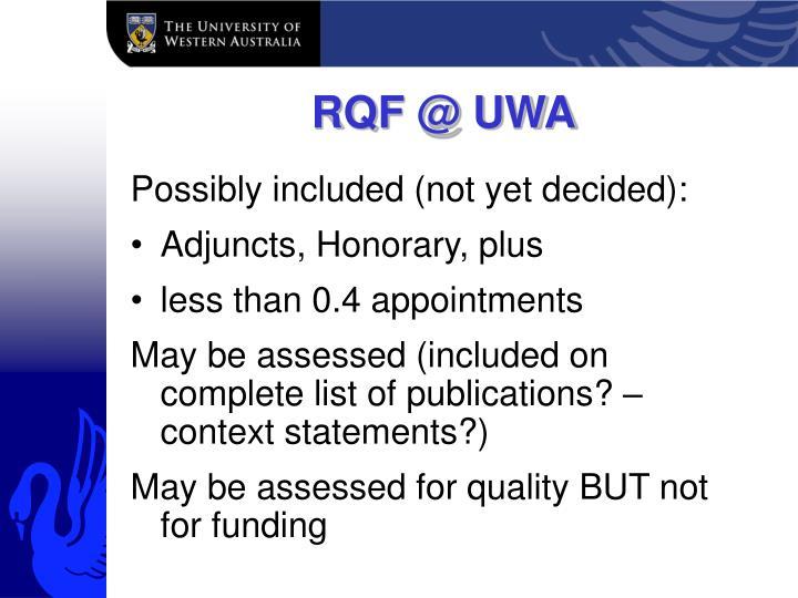 RQF @ UWA