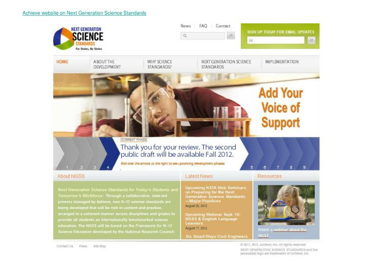 Achieve website on Next Generation Science Standards