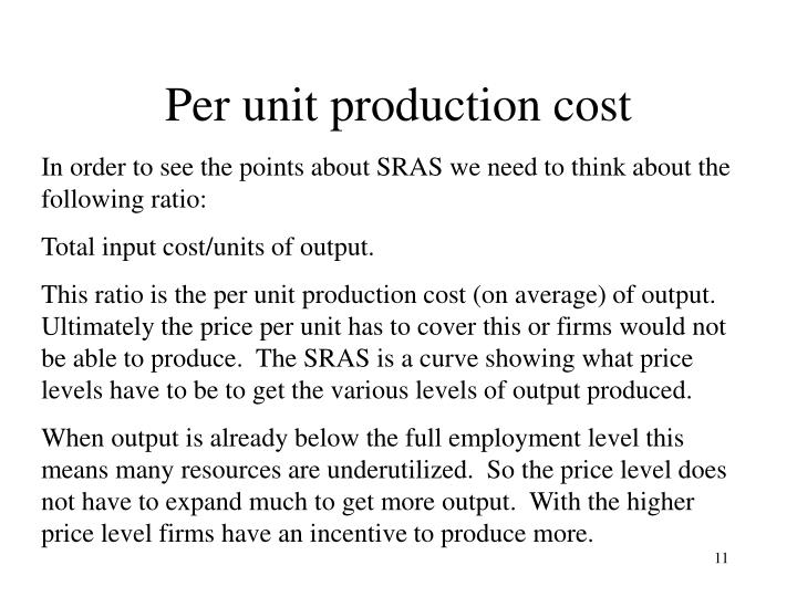 Per unit production cost