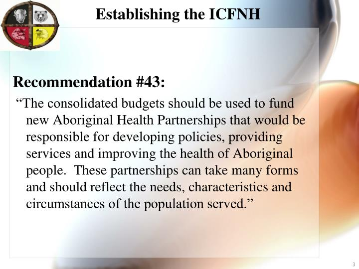 Establishing the icfnh1