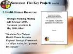 successes five key projects cont d