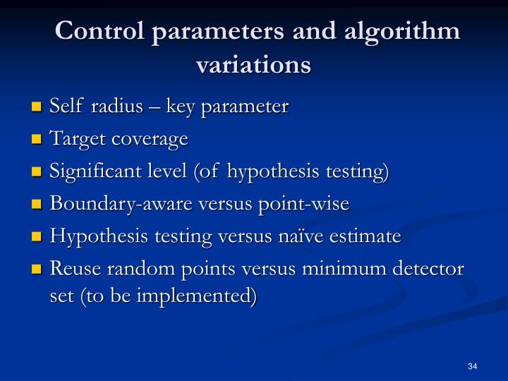 Control parameters and algorithm variations