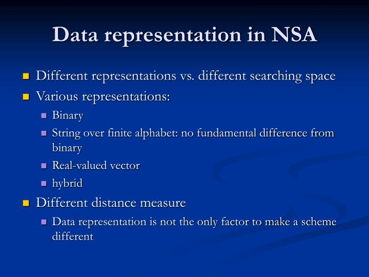Data representation in NSA