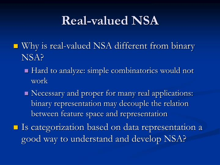 Real-valued NSA