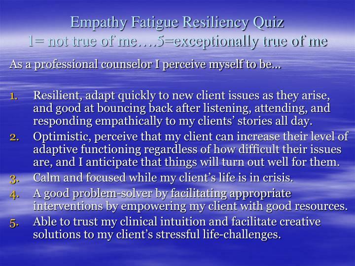 Empathy Fatigue Resiliency Quiz