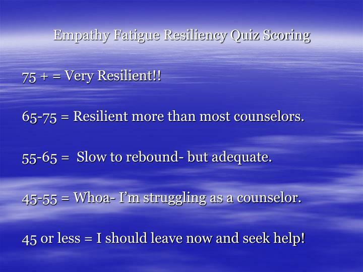 Empathy Fatigue Resiliency Quiz Scoring