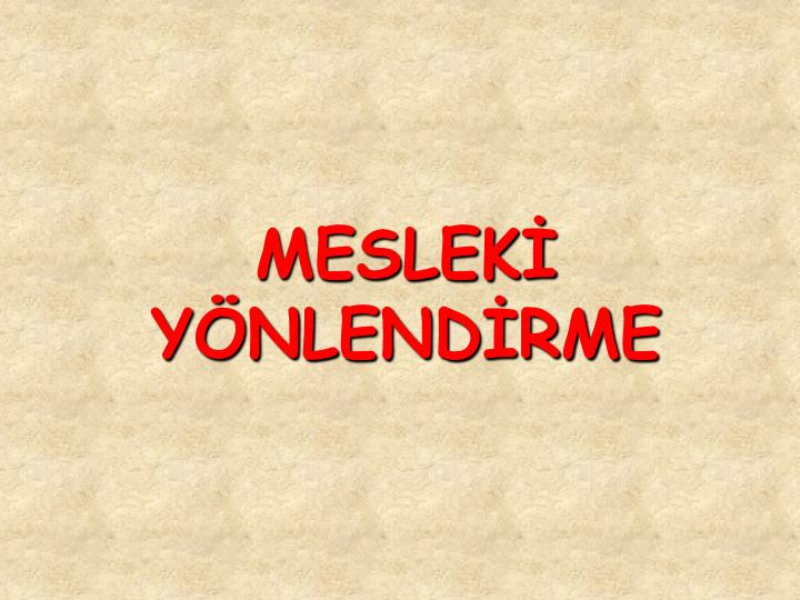 MESLEK YNLENDRME