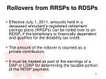 rollovers from rrsps to rdsps
