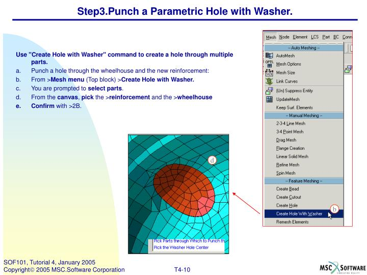 Step3.Punch a Parametric Hole with Washer.