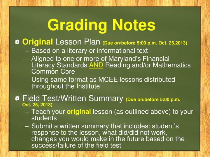 Grading Notes