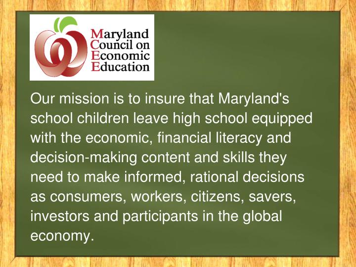 Our mission is to insure that Maryland's