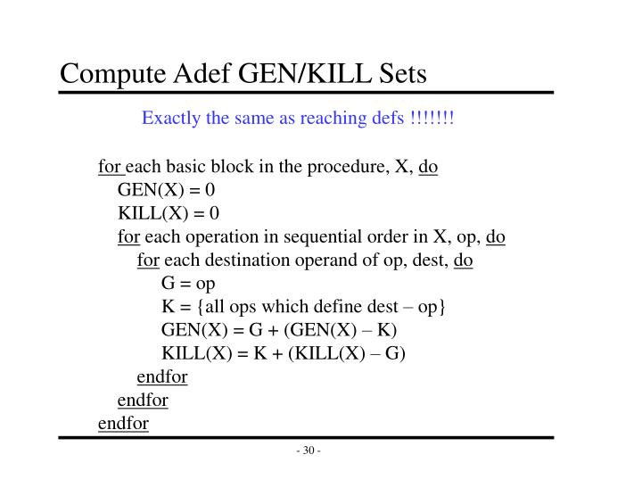 Compute Adef GEN/KILL Sets