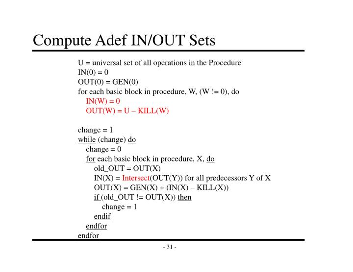 Compute Adef IN/OUT Sets