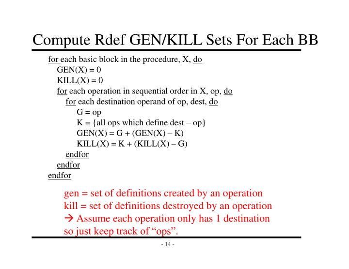 Compute Rdef GEN/KILL Sets For Each BB