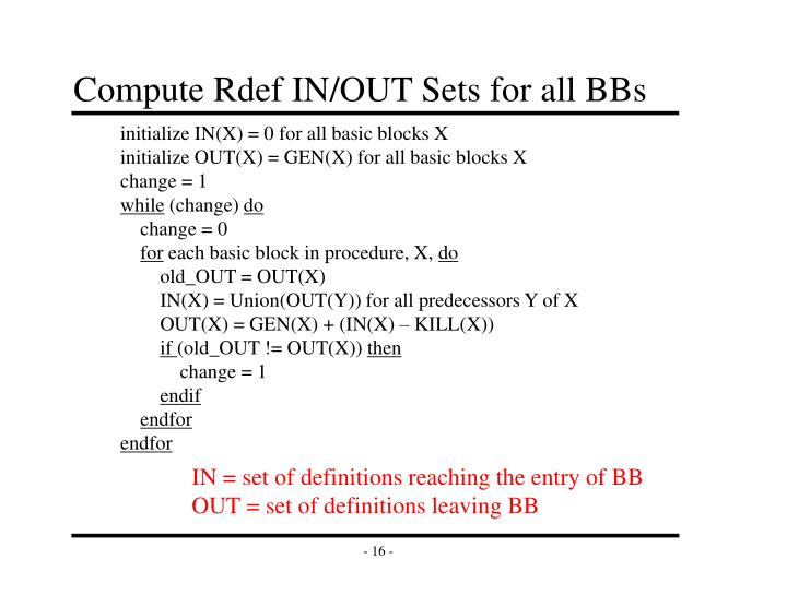 Compute Rdef IN/OUT Sets for all BBs