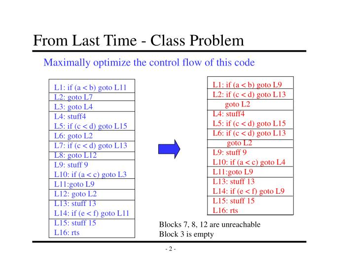 From Last Time - Class Problem