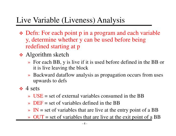 Live Variable (Liveness) Analysis