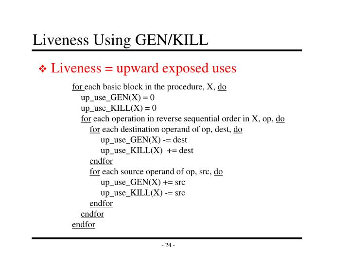 Liveness Using GEN/KILL