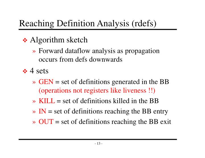 Reaching Definition Analysis (rdefs)