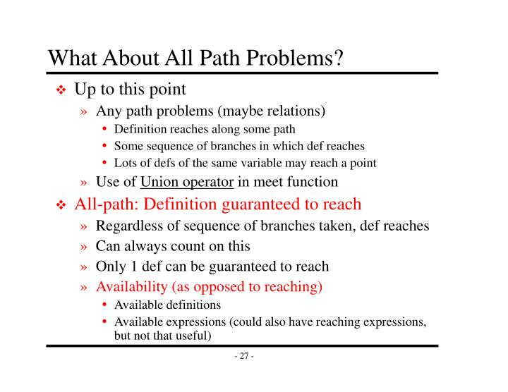 What About All Path Problems?