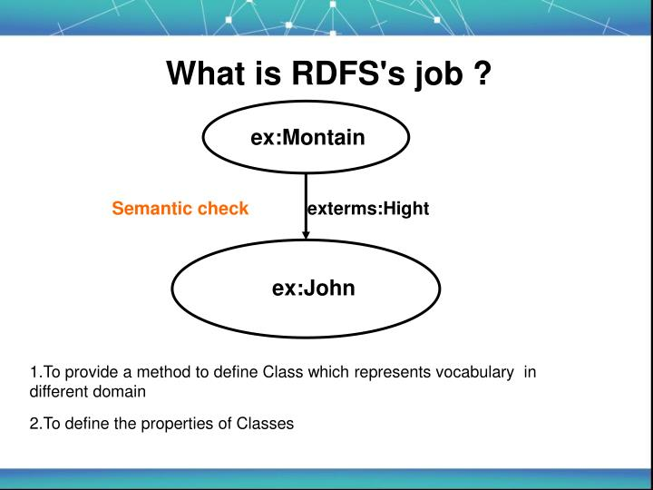 What is RDFS's job ?
