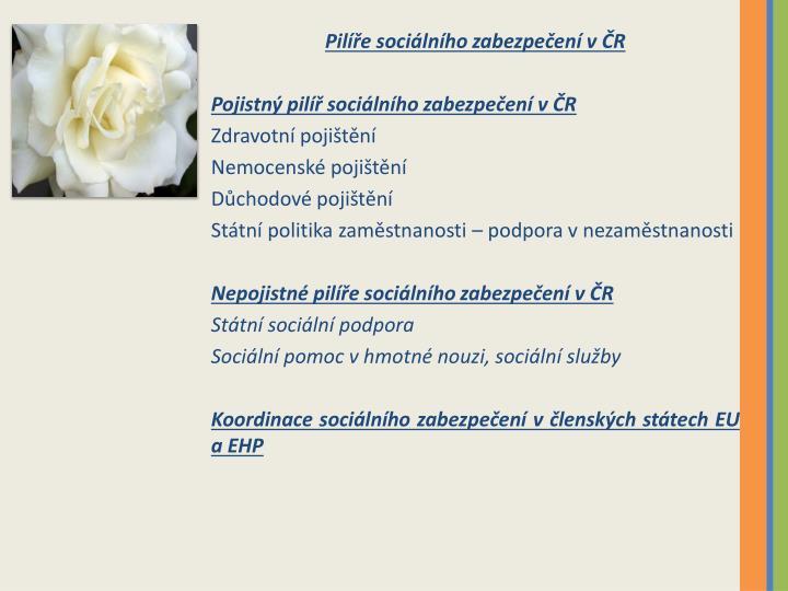 Pilíře sociálního zabezpečení v ČR