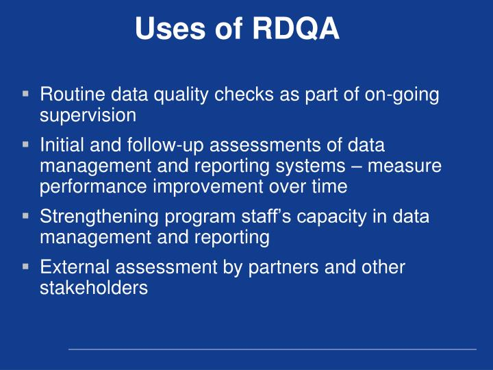 Uses of RDQA