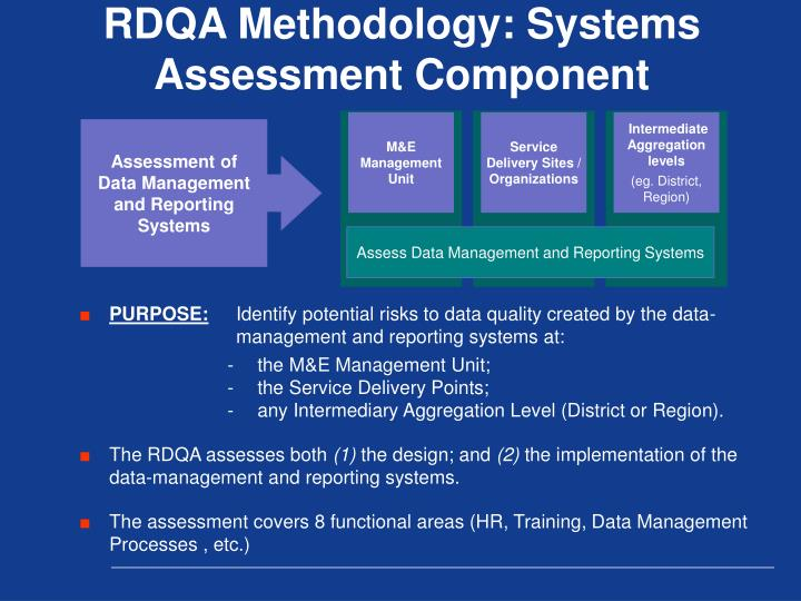 RDQA Methodology: Systems Assessment Component