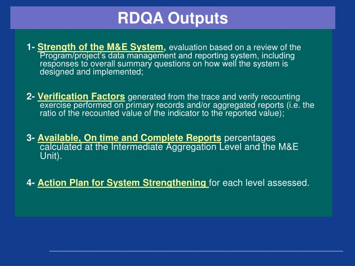 RDQA Outputs