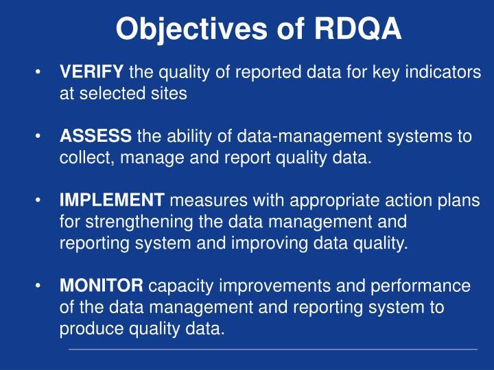 Objectives of RDQA