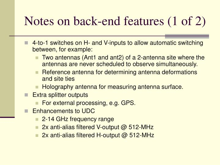 Notes on back-end features (1 of 2)