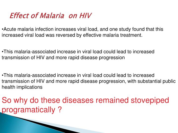 Effect of Malaria  on HIV