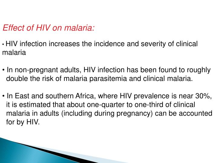 Effect of HIV on malaria: