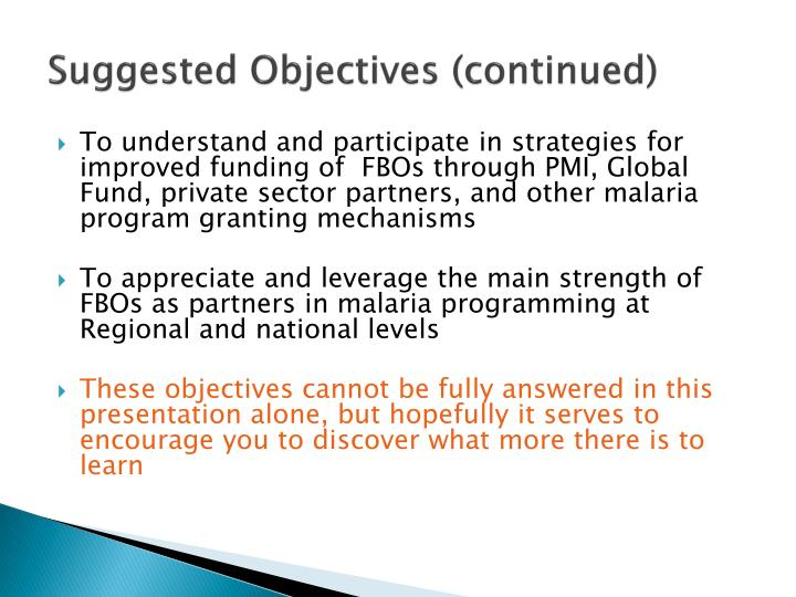 Suggested Objectives (continued)