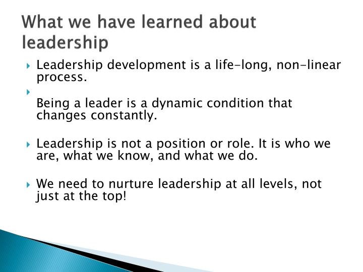 What we have learned about leadership