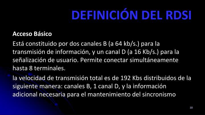 DEFINICIÓN DEL RDSI