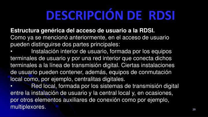 Estructura genérica del acceso de usuario a la RDSI.