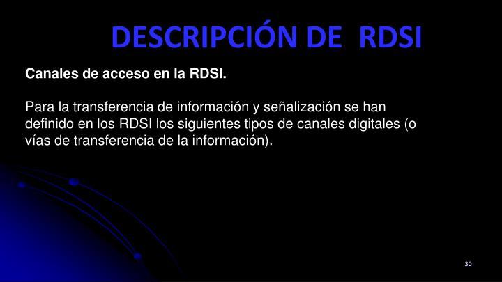 Canales de acceso en la RDSI.