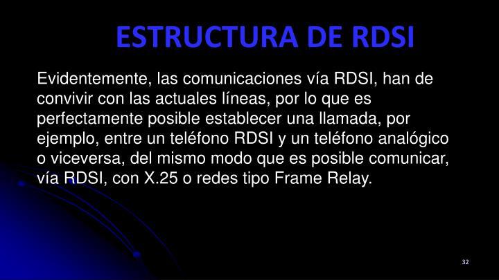 Evidentemente, las comunicaciones vía RDSI, han de convivir con las actuales líneas, por lo que es perfectamente posible establecer una llamada, por ejemplo, entre un teléfono RDSI y un teléfono analógico o viceversa, del mismo modo que es posible comunicar, vía RDSI, con X.25 o redes tipo Frame Relay.