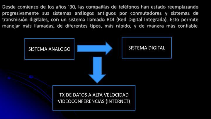 Desde comienzo de los años ´90, las compañías de teléfonos han estado reemplazando progresivamente sus sistemas análogos antiguos por conmutadores y sistemas de transmisión digitales, con un sistema llamado RDI (Red Digital Integrada). Esto permite manejar más llamadas, de diferentes tipos, más rápido, y de manera más confiable