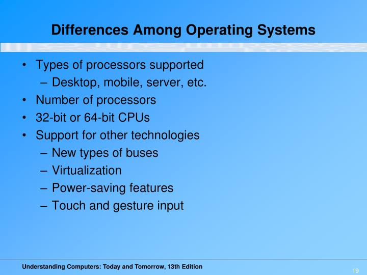 Differences Among Operating Systems