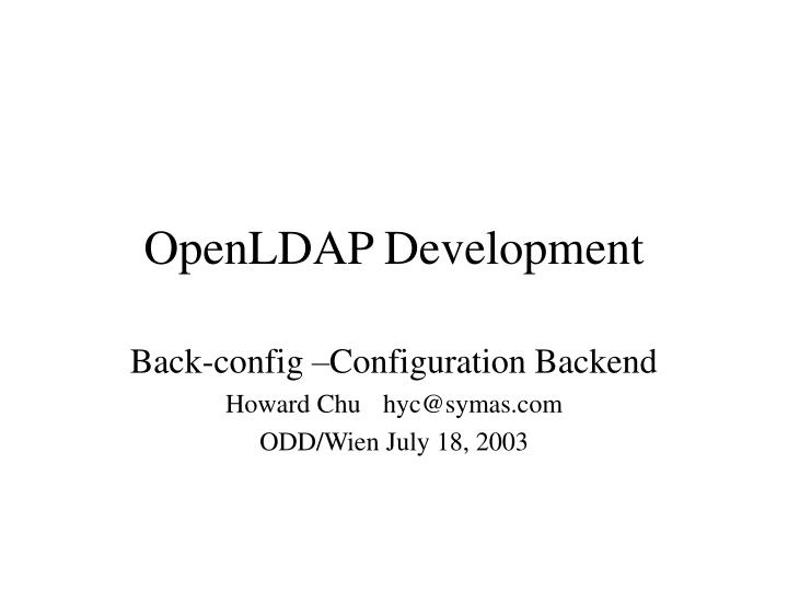 Openldap development