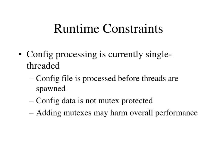 Runtime Constraints