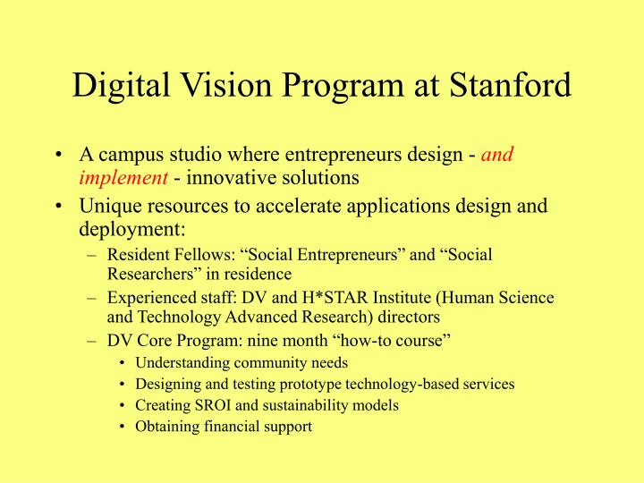 Digital Vision Program at Stanford
