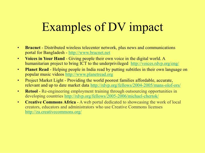 Examples of DV impact