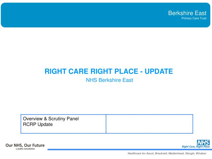 RIGHT CARE RIGHT PLACE - UPDATE